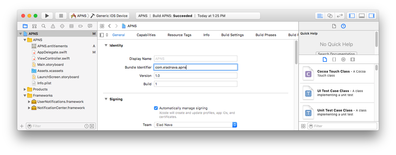 Send Push Notifications to iOS Devices using Xcode 8 and Swift 3